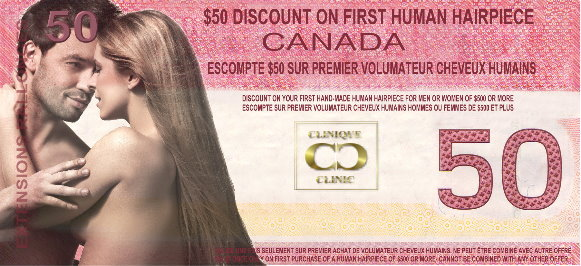 $50 Discount Coupon on The Hair Clinic's Hair Toppers