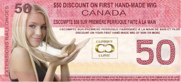 $50 Discount Coupon on on your first hand-made wig at The Hair Clinic Wigs Montreal