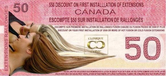 $Rabais 50$ sur votre sur votre première pose complète de rallonges fusion de La Clinique Capillaire Montréal