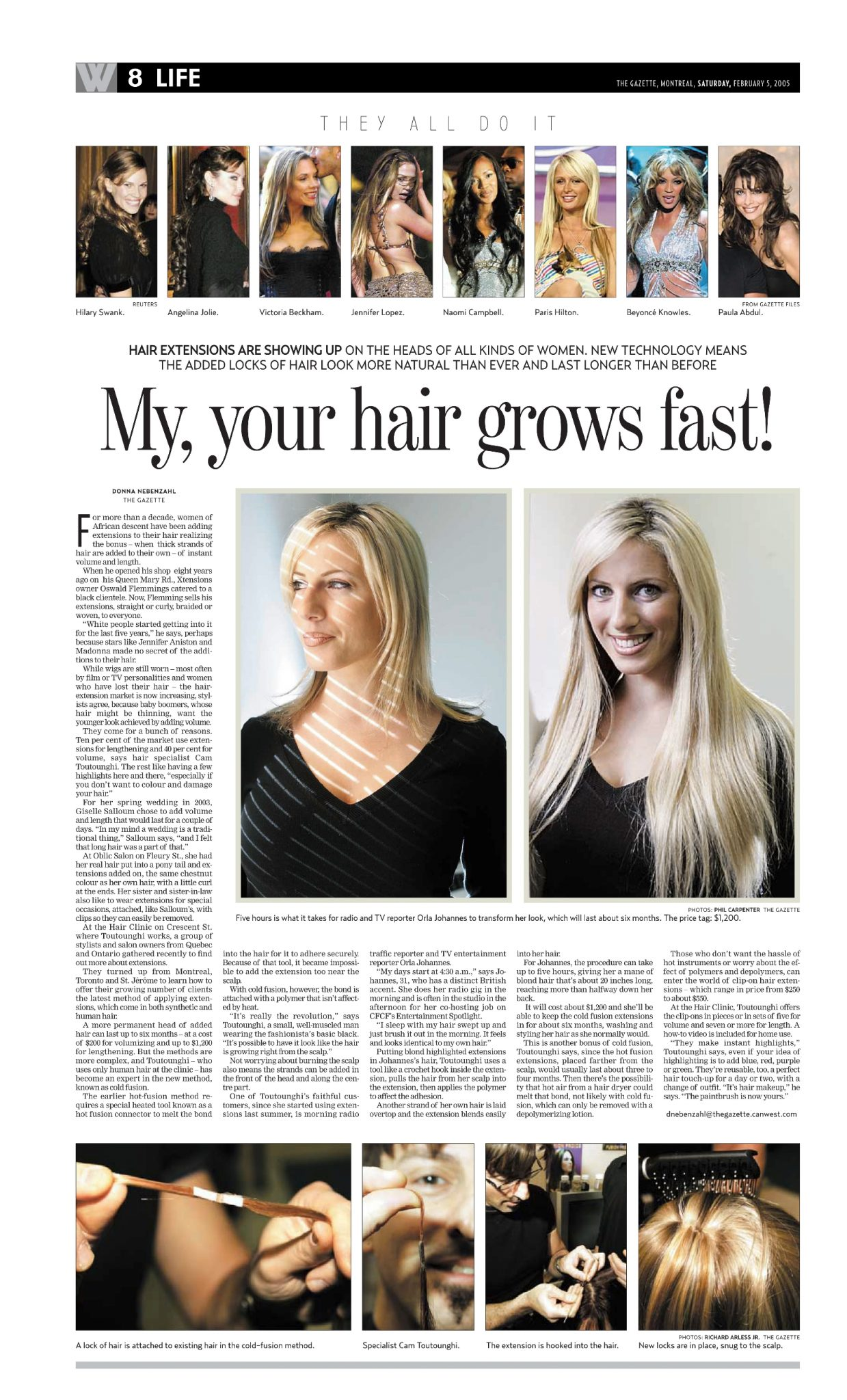 The Gazette article on Cold Fusion Extensions at The Hair Clinic Montreal