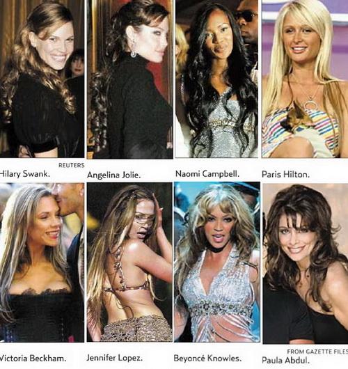 Angelina Jolie, Hillary Swank, Paris Hilton, Beyoncé Knowles, Naomi Campbell, Jennifer Lopez